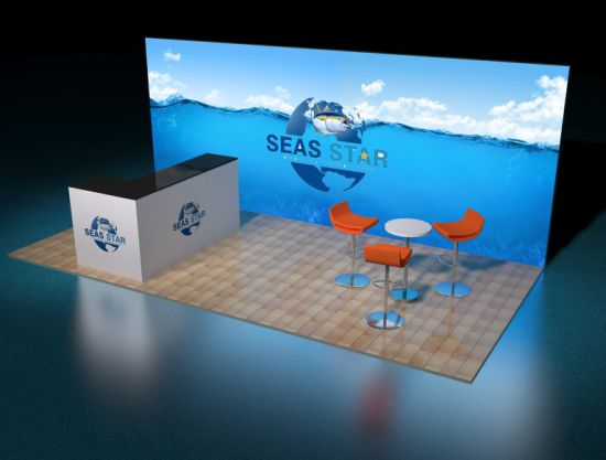 Exhibition Booth Animation : Empty exhibition booth copy space illustration d rendering