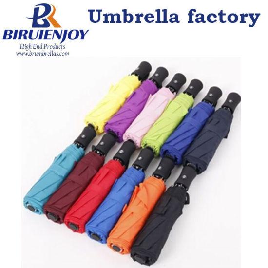 "Fully-Automatic Sunshade Advertising Rain 3 Folding Umbrella 21"""