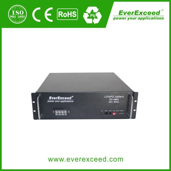 Everexceed 48V 50ah Rechargeable LiFePO4 Lithium Battery, LiFePO4 Battery Pack for Solar System