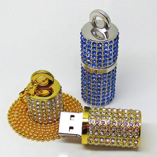 Jewelry Cylinder USB Flash Drives, Diamond Cylindrical Wedding Gifts USB Stick