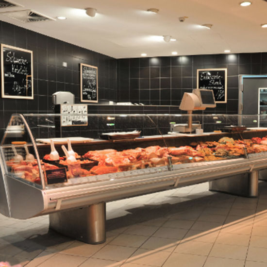 Refrigerated Curved Glass Display Chiller Fish Freezer
