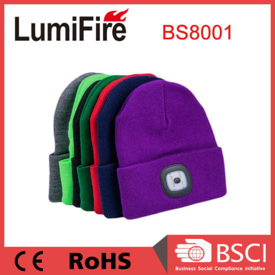 USB Rechargeable 100% Acrylic LED Winter Beanie Hat with Light