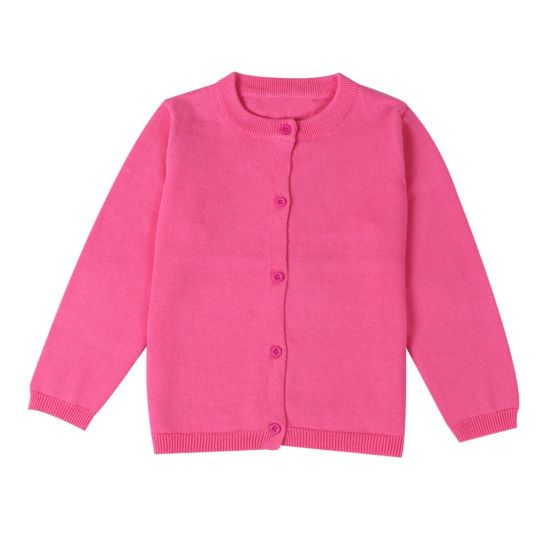 OEM Embroidery Knitted Child Kids Girls Button School Uniform Winter Sweater