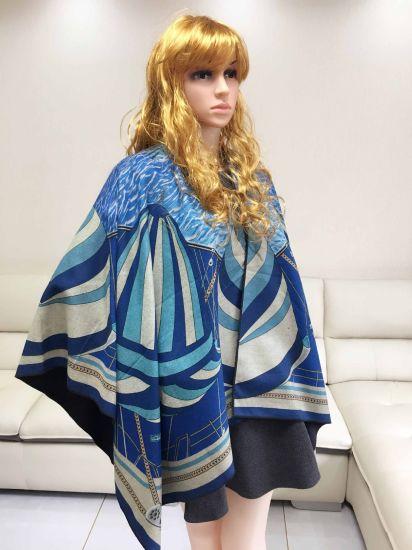 Ladies Winter Poncho Wool Jacquard Knit Triangle Shawl
