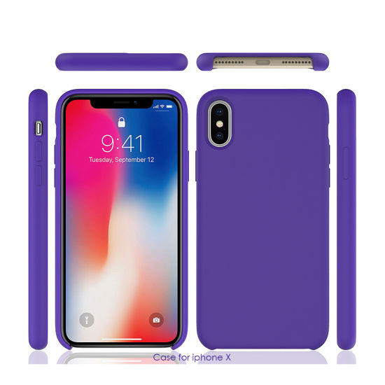 Luxury Original Microfiber Liquid Silicone Gel Rubber Phone Case for iPhone X Xs Xr Xs Max with Logo pictures & photos