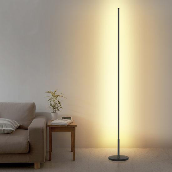 Modern Minimalist Remote RGB Color Changing Floor Light Aluminum Simple Bedroom Tude LED Standing Floor Lamp