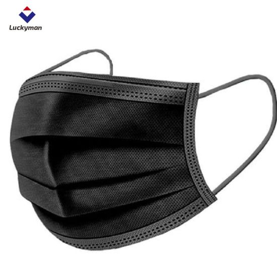 China Luckyman Fashion Black Mask Non-Woven Fabric 3 Ply/4ply Face Mask Anti-Dust Disposable Protective Mask for Adult
