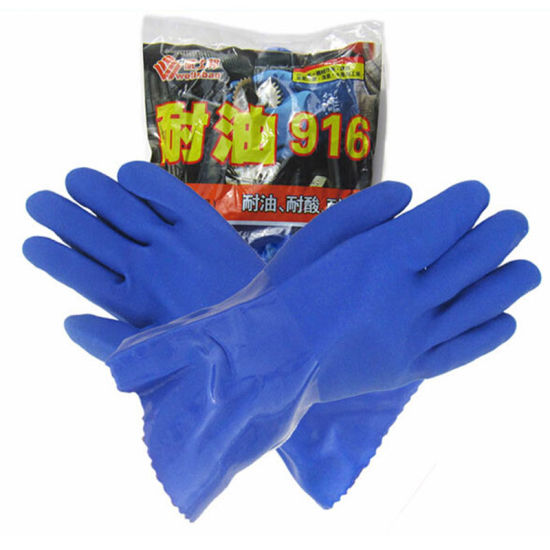 PVC Working Household Chemical Industrial Safety Latex Gloves pictures & photos