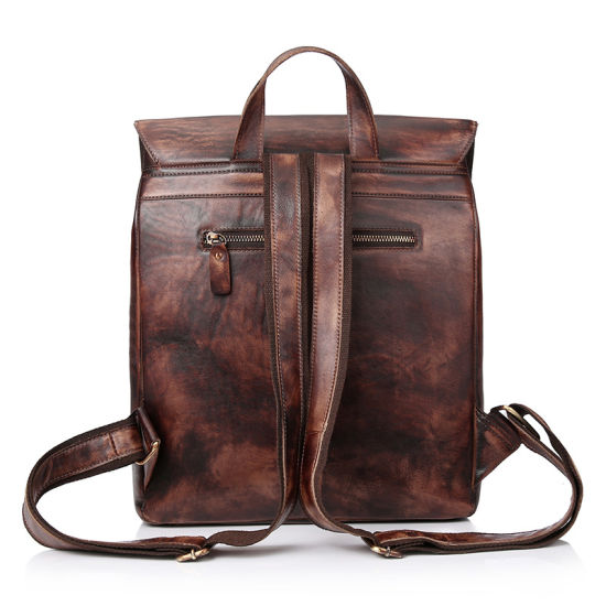 Factory Price Brand Design Good Quality Vintage Brown Leather Backpack Bag for School pictures & photos