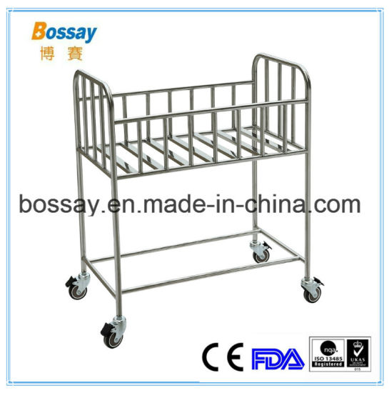 Hospital Furniture Stainless Steel Baby Bed