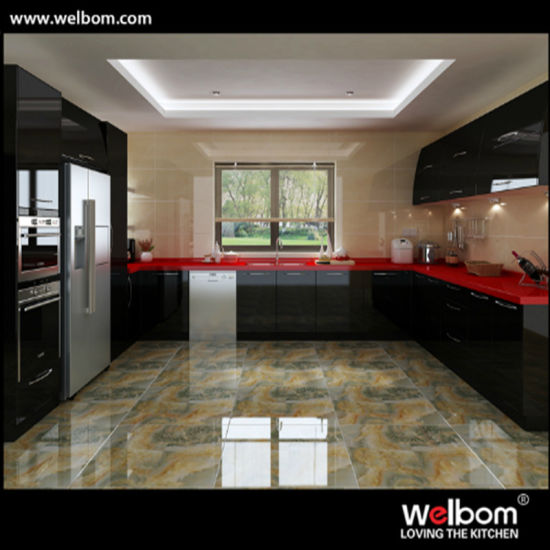 2016 Welbom Black And Red Modern High Gloss Kitchen Cabinet Pictures Photos