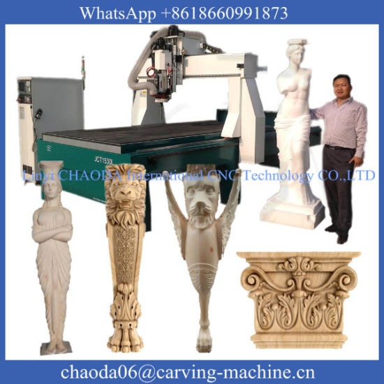 CNC 3D 4axis Wood Carving Machine with Rotary Axis (JCT1530L) pictures & photos