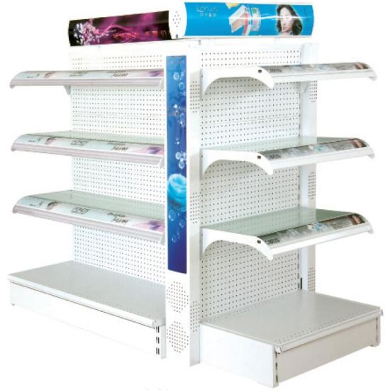 Supermarket Shelving Corner Supermarket Rack with Mesh Back