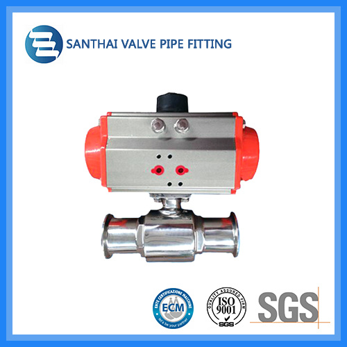Stainless Steel Pneumatic Control Actuator Sanitary Ball Valve for Water Treatment