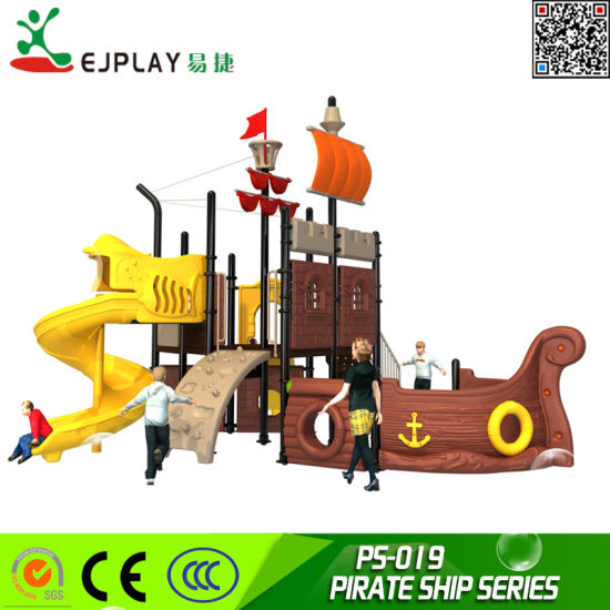 2018 Popular Pirate Ship Commercial Children Plastic Playground for Sale