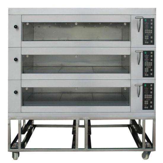 China Luxury Upwards Glass Door Bakery Electric Deck Oven For Bread