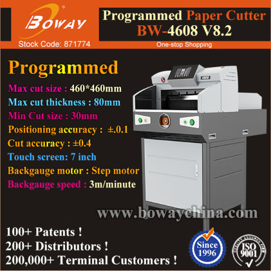 80mm Thickness 800 Sheets Book Edge Trimming Boway 460mm Paper Cutter Machine