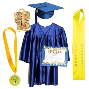 China Shiny Gold Graduation Cap Gown For Kindergarten China Gowns Cap