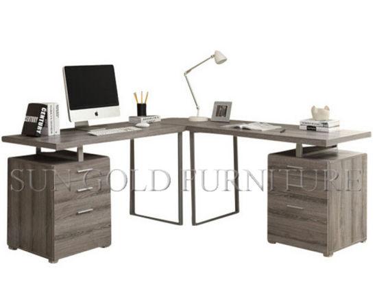 Hot L Shape Corner Grey Computer Desk Sz Od457