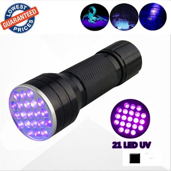 21 LED UV Light 365nm 395nm Blacklight Ultraviolet Flashlight pictures & photos