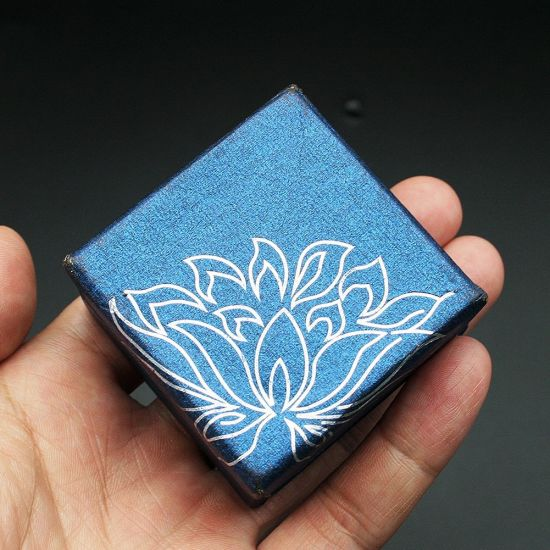 Jewelry Box Organizer Storage Container Blue Flower Gift Paper Tt11