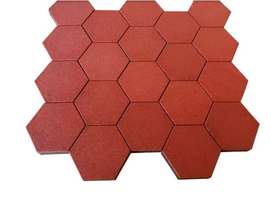 Factory Customized Colorful Hexagon Rubber Tiles Mats for Outdoor Walkway  Pathway /Playground/Garden/Walkway/Courtyard/Balcony