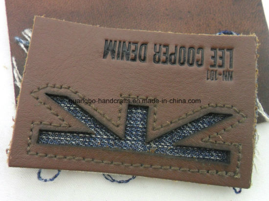 Fashion Brown Embossed Leather Jeans Label pictures & photos