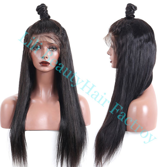 Lili Beauty Brazilian Lace Front Human Hair Wigs for Women Remy Hair Straight Wig with Baby Hair Natural Hairline Full End Black Color pictures & photos