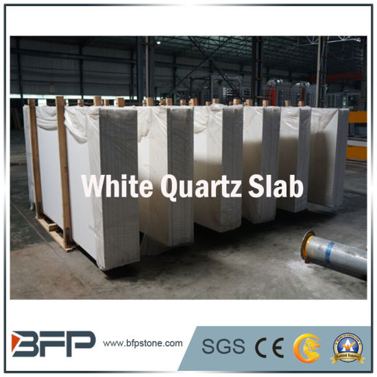 Polished Pure White Quartz Slabs for Kitchen Countertop pictures & photos