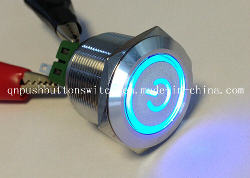 25mm Spraying Plastics Symbol Blue LED Push Button Switch