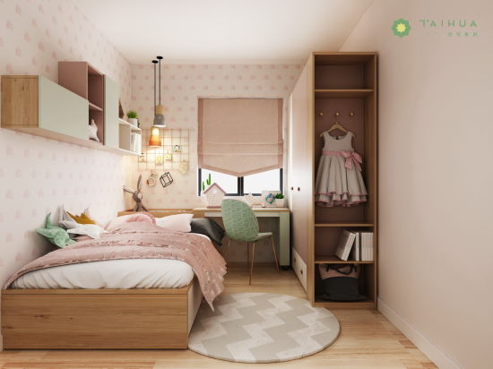 Nordic Customized Kid's Bedroom Pink and Light Green