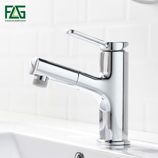 Flg Brass Chrome Plated Single Handle Pull out Bathroom Basin Faucet