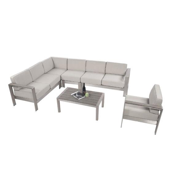 Family Expenses Aluminum Combination Corner Sofa Leisure Fashion Hotel Gray Outdoor Furniture