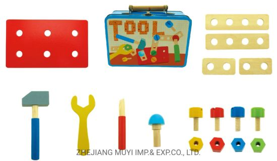 Intellectual Educational Wooden Toys for Kids Gift, 22855 Playset in Tin Suitcase From Lindatoy