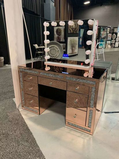 Luxury New Stryle Bedroom Furniture Crushed Diamonds Dressing Table with Hollywood Mirror