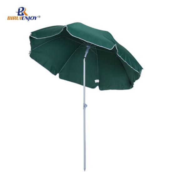 Outsunny Metal Beach Umbrella Parasol Shading Tilt Sun Shelter 2.2m