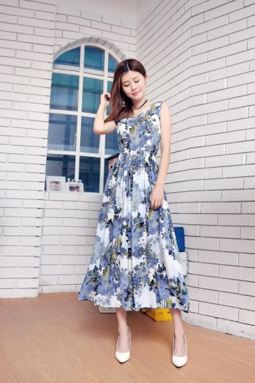 69b4e0a4f461f China Hot Sale Ladies Printed Flowers Long Dresses for Summer ...