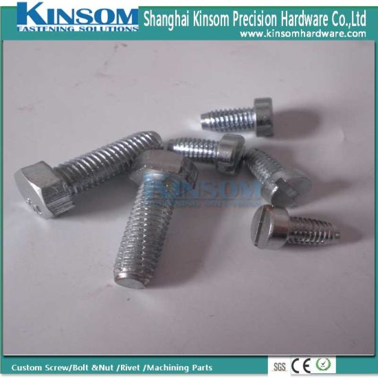 Customized Cutting Thread Hex Bolt with Slotting Head Blue Zinc Coating pictures & photos
