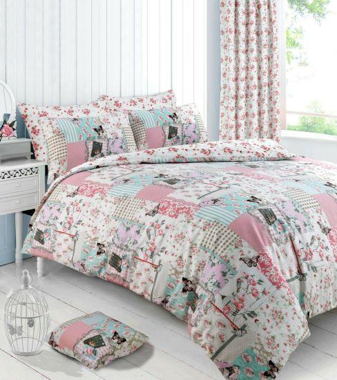 Fl Patchwork Boutique Pink Duvet, Bedding Set With Curtains