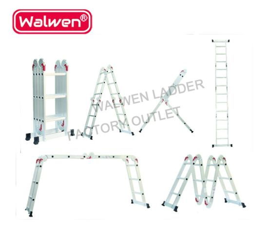 China Big Hinges Joints Extension Tall Folding Aluminum Ladder With