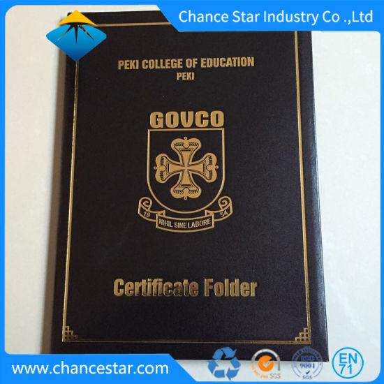 Graduation Certificate University Diploma Folder, PVC Diploma Certificate Cover
