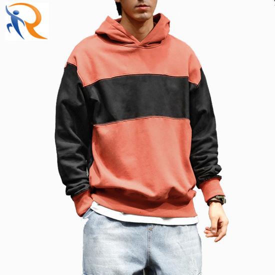 Wholesale Men Fashion Color Blocking Hoodies Winter Warm Pullover Hoodies