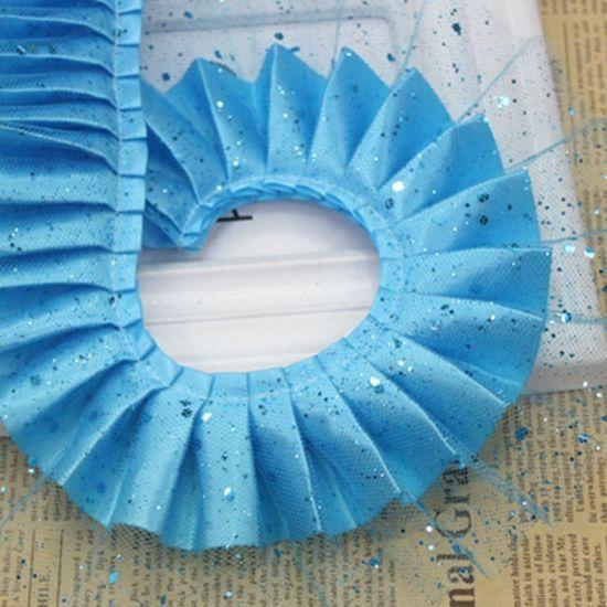 Wholesale High Quality 7cm Paillette Ruffle Lace Trim for Dress Decoration