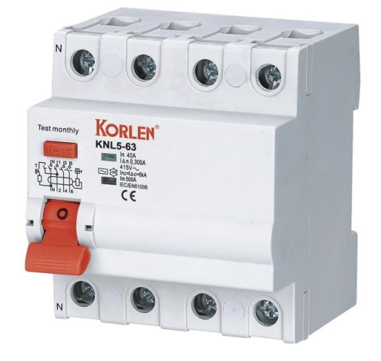 China Korlen Residual Current Circuit Breaker RCCB Knl5-63 2p 4p