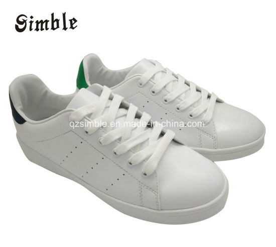 Women Brand Lady White PU Casual Shoes with Lace Upper