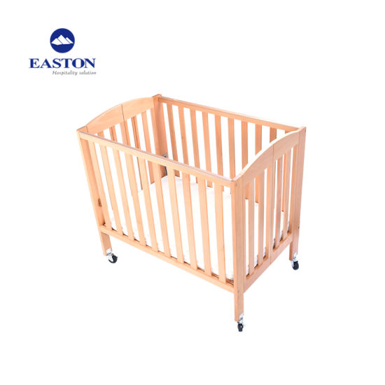 Hotel Kids Adjustable Wooden Baby Crib Natural Color