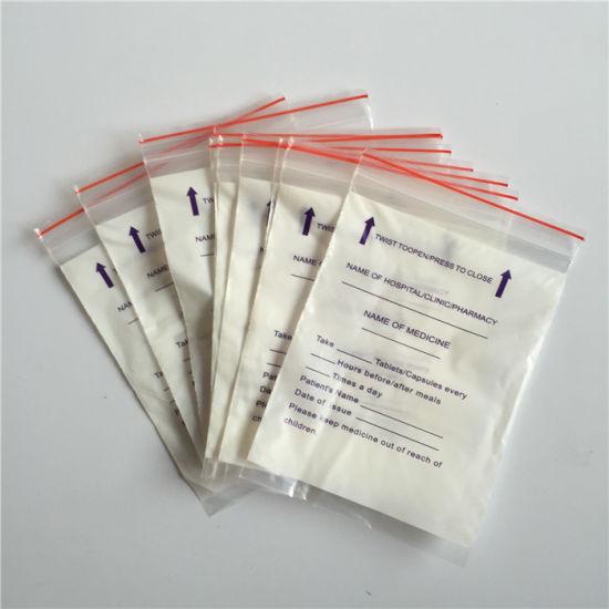Plastic Zipper Bag White Block Written Small Pill Evenlop Tablet