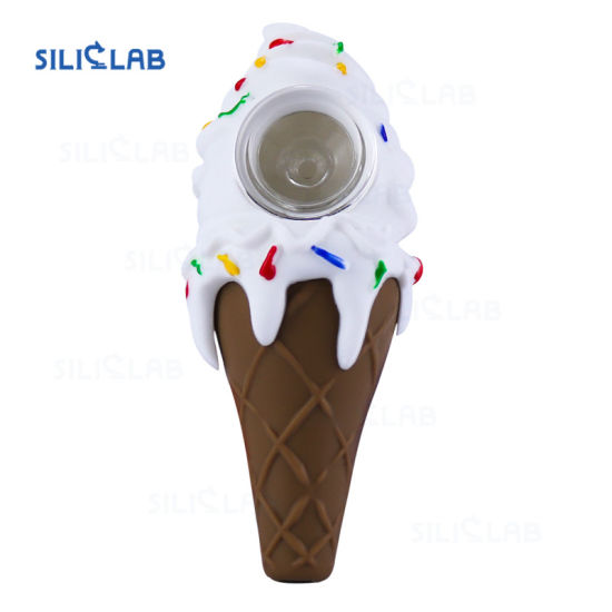 New Ice Cream Silicone Smoking Pipes with Glass Bowl Screens