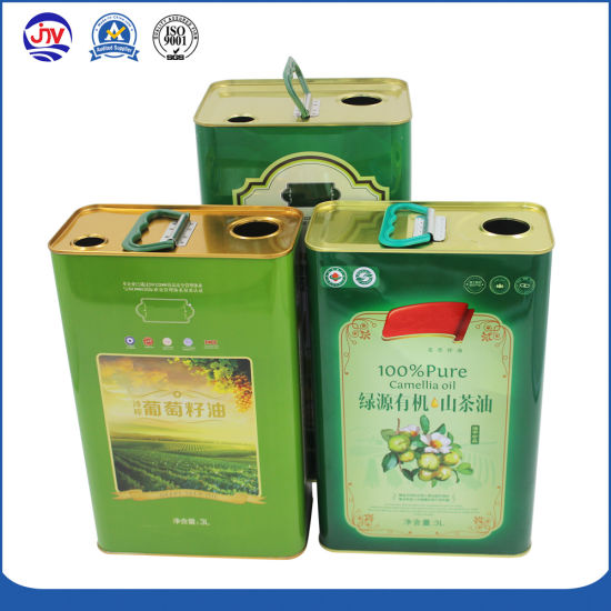 3L Olive Oil Can Square Camellia Tins with Plastic Lids