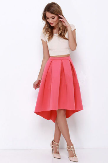 d3e109f6ab Hot Selling Fashionable Women Coral High-Low Padded Scuba MIDI Asymmetrical  Pleated Skirt Knitted Skater Skirt